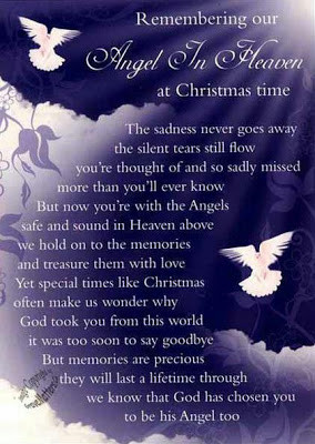 An angel in heaven at Christmas quote