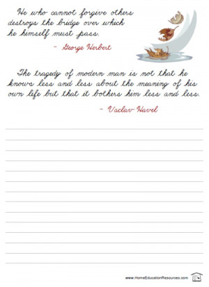 free quotations cursive printable packet for handwriting homeschool ...