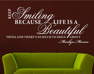 keep smiling life is beautiful art quote wall stickers wall decal