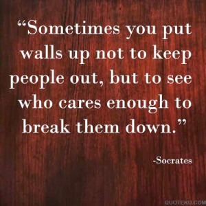 Socrates quote sometimes put wall to see who cares
