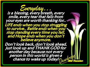 everyday is a blessing every breath every smile every tear that falls ...