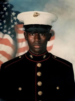 "Marlon Jones as a ""leatherneck."" He deployed with the 26th Marine ..."