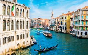 Venice, architecture, boat, chanels, city, flag, gondola, gondolas ...