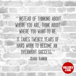 Instead of thinking about where you are, think about where you want to ...