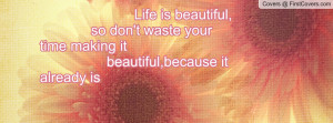 Life is beautiful, so don't waste your time making it beautiful ...