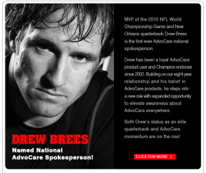 Drew Brees – AdvoCare Official National Spokesperson