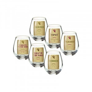 Wine Glasses Stemless with Funny Sayings Set of 6
