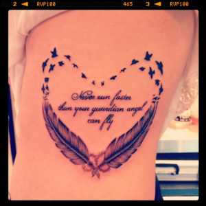 Pretty feather and quote tattoo lettering