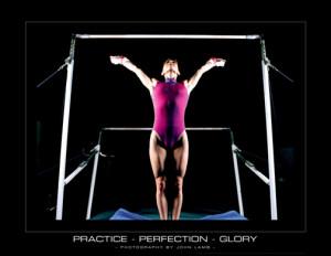 ... Gymnastics Practice-Perfection-Glory (Uneven Bars) Motivational Poster