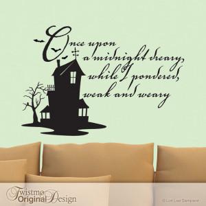 ... Vinyl Wall Decal, Edgar Allan Poe Quote, Haunted House, Bats, Owl
