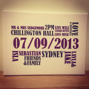 Home Personalised Wedding / Couple Canvas