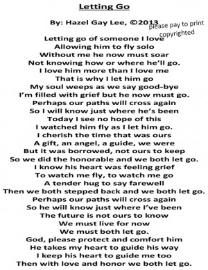 Letting Go – Poem About Letting Go of Someone You Love