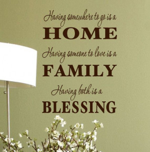 HOME - FAMILY - BLESSING wall quote vinyl graphics Decal Inspirational ...
