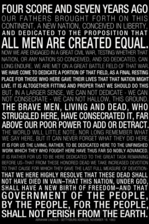 Gettysburg Address (Black) Text Poster Premium Poster