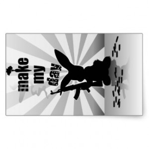 Funny angry armed rabbit rectangle stickers
