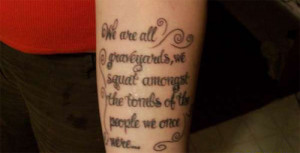 girl got a wise quote tattooed on her left forearm that also happens ...