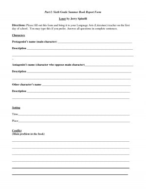 6th-Grade Book Report Forms