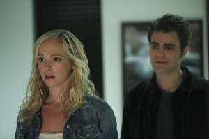 Candice Accola as Caroline and Paul Wesley as Stefan on 'The Vampire ...