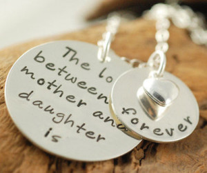 Hand Stamped Necklace Mother & Daughter Jewelry. Love.