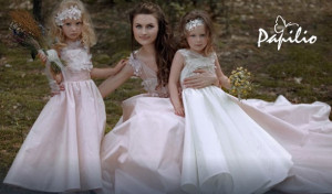 wedding dresses and matching flower girl dress