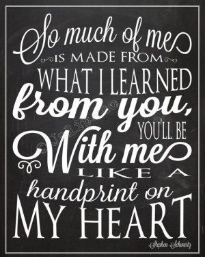Wicked Quote - Handprint on My Heart