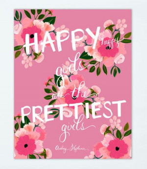 Happy Girls Print in Pink #AudreyHepburn #quote by firstsnowfall, $46 ...