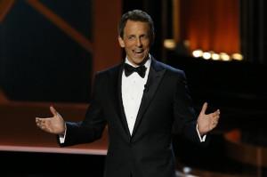 Host Seth Meyers speaks onstage during the 66th Primetime Emmy Awards ...