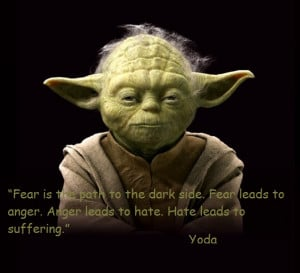 ... Fear leads to anger. Anger leads to hate. Hate leads to suffering Yoda