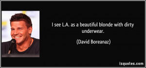 ... see L.A. as a beautiful blonde with dirty underwear. - David Boreanaz