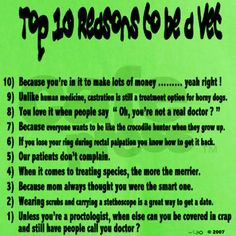 Top 10 Reasons to be a Vet Green T-Shirt I will be a vet one day! More
