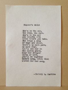 Sympathy Poem Heaven's Child Loss of Child Comfort after death of ...