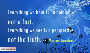 ... we see is a perspective , not the truth .~ Marcus Aurelius Quotes