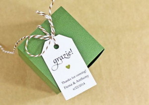 Gift Tag - Grazie Thank You in Italian, Bridal Shower Favor Tag ...