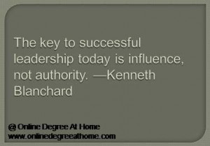 leadership today is influence, not authority. —Kenneth Blanchard ...