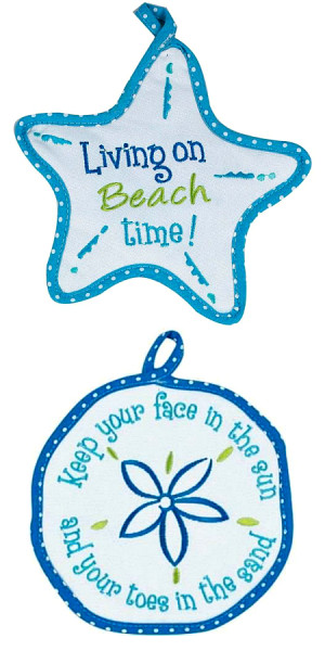 Beach quote pot holders sand dollar and starfish by kay dee design