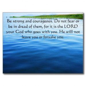 Deuteronomy 31:6 Bible Verses about courage Postcard