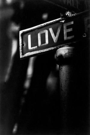 Photo by W. Eugene Smith - Love, a streetsign in a poor Black district ...