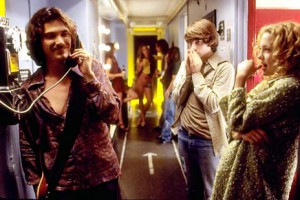 Patrick Fugit (center) stars as a young rock journalist, Billy Crudup ...