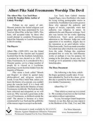 Albert Pike Said Freemasons Worship The Devil by gyvwpsjkko