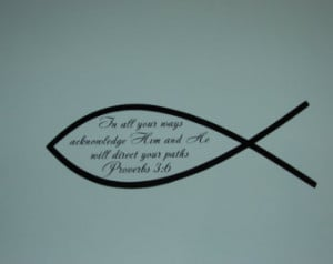 ... christian fish matte finish vinyl wall quote saying Bible verse decal
