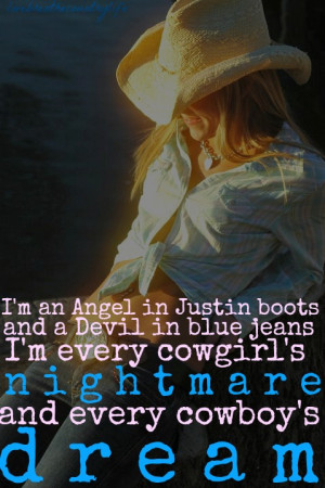 Country Girl Quote Angel Devil Justin Boot Wallpaper