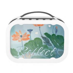 Reflection Inspirational Quote Orange Lotus Yubo Lunchbox