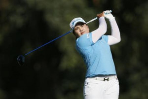 Inbee Park of South Korea tees off on the 16th hole during the third ...
