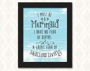 ... mermaid quote typography, digital wall art - Anais Nin Quote - Mermaid