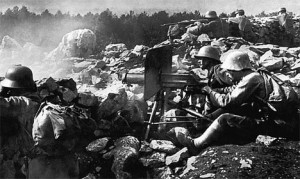 Slaughter: German machine gunners in Italy in 1917. The weapon had a ...