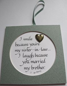 Sister-in-law Present, Bridesmaid Gift, Customize Your Message ...