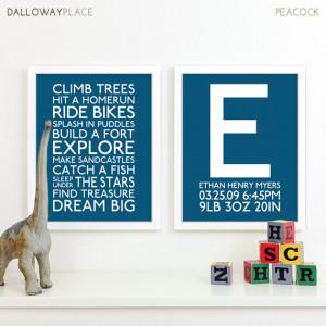 Boy Nursery Art Print Playroom Rules Subway Art Quotes Baby Boys Room ...