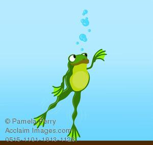 Clip Art Illustration of a Cartoon Frog Swimming Under Water