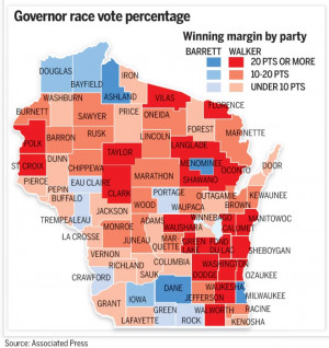 Here is the map of Walker's wins in 2010: