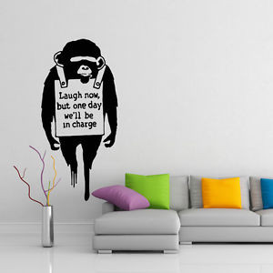 ... -Vinyl-Wall-Decal-Monkey-Laugh-Now-Quote-Chimp-Art-Decor-Home-Sticker